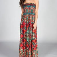ANGIE Paisley Scarf Maxi Dress