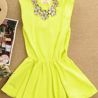 Chiffon Mini Dress With Flower Necklace