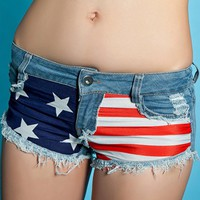 Low-waisted Destroyed American Flag Jeans Shorts