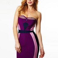 Bqueen Strapless Purple Bandage Dress H77Z