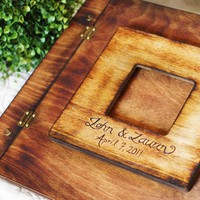 Rustic Wedding Album or Guest Book with Personalized burned engravi...... | roxyheartvintage - Wedding on ArtFire
