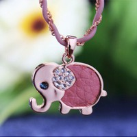 elephant leather short 18k gold rhinestone necklace