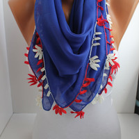 NEW- Blue Yemeni Shawl Scarf  Oya Headband- Crochet edge- American Flag colors