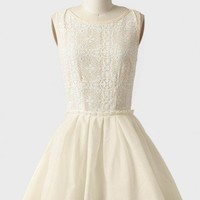 sunflower ballet crochet detail dress in cream at ShopRuche.com