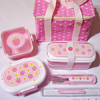 NEW! STRAWBERRY CANDY JAPANESE 3 BENTO LUNCH BOX SUPER SET  | eBay