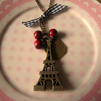 Eiffel Tower Necklace by Bitsofbling on Etsy