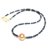 Kasumi Style Pearl Necklace Deep Blue Sapphire Gold Vermeil Gemstone Jewelry