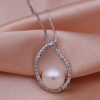 Rhodium Plated Fresh Water Pearl Pendant - Water Drops