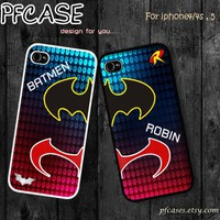 BATMAN(fix the spell in site artfire) and ROBIN Twin cases style: Handmade case For Iphone 4/4s ,5