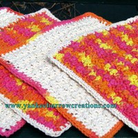 sunny and bright orange and yellow crochet dish cloths on Handmade Artists&#x27; Shop