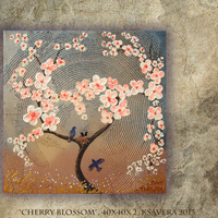 SAKURA Landscape impasto Painting Cherry Blossom love birds Tree of life nest Enchanted Forest KSAVERA Abstract Floral Art palette knife