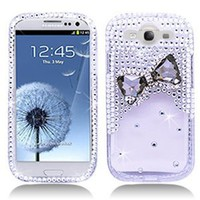 3D Bow Tie Rhinestone/Diamond/Crystal/Bling Hard Plastic Protector Case Cover For Samsung Galaxy S3 I9300-Clear: Cell Phones & Accessories
