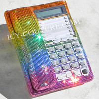 Rainbow Colors Swarovski Crystal Desk Home Office Phone