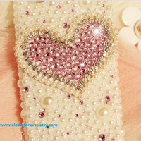 ON SALE: Handmade Bling Bling Pink Rhinestone Crystal Heart iPhone Case Pink Crystals Heart Pearls iPhone 4 iPhone 4S Case iPhone 5 Case