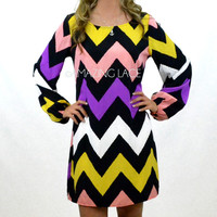 Mill Valley New Chevron Royal Pink Lime Dress
