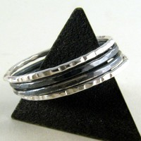 Skinny Silver Stacking Ring Set - 1mm - Set of 4 - Made to Order