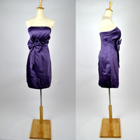 Cheap 2013 New Style Strapless Sweetheart Purple Satin Party Cocktail Prom Homecoming Dresses