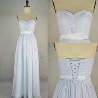 Cheap 2013 New Strapless Sweetheart Floor Length Chiffon Pure White Prom Dresses
