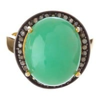 Green Chalcedony & Champagne Diamond Bold Dome Stone Ring on HauteLook