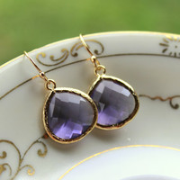 Large Tanzanite Earrings Gold Plated Purple Glass Pendant - Wedding Earrings - Bridal Earrings - Bridesmaid Earrings