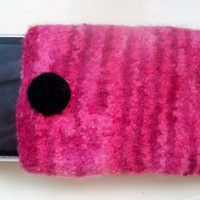 Fun felted wool cell phone cozy pink cherry red