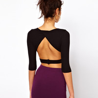 ASOS PETITE Exclusive Crop Top With Cross Front And Cut Out Detail
