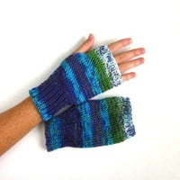 Knitted Fingerless Mittens Bike Gloves Striped Handwarmers Women Teen