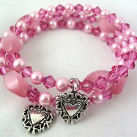 Pink Cat's eye with Rose Swarovski Crystals Pearl Memory Wire Bracelet