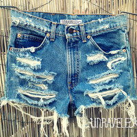 Ripped Denim Shorts (SMALL)