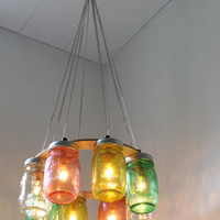 Tropical Fruit Mason Jar Chandelier - Upcycled Hanging Mason Jar Lighting Fixture Direct Hardwire - BootsNGus Lamps Rustic Home Decor