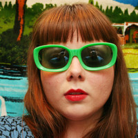Unique 60s Sunglasses Vintage 60s Sunglasses Lime Green Oversize Horn Rim Mod NOS Non Rx Dark Gray Lens