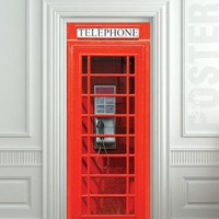 Door STICKER Telephone Box London red mural decole film selfadhesive poster by pulaton