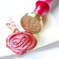 Filigree Heart Gold Plated Wax Seal Stamp &amp; Sealing Wax