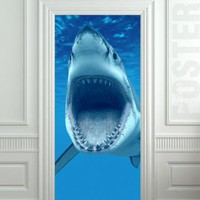GIANT Door Wall STICKER shark water ocean sea decole film poster 31x7980x200 cm by pulaton