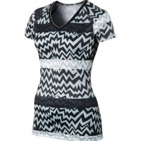 Nike Women&#x27;s Strobe Print V-Neck Pro Shirt
