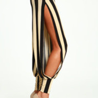 Striped Slit Harem Pants