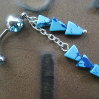 Belly Button Jewelry- Turquoise Chevron Arrow Stone Beaded Charm Dangle Ring Navel Piercing