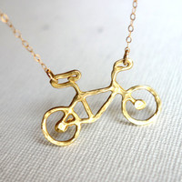Le Very Petite Brass Bike Necklace
