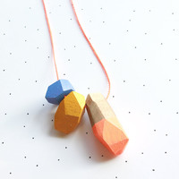 Neon Orange Faceted Wooden Beaded Necklace