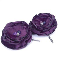 Dark Purple, Plum Silk Satin Flower Hair Pins Hair Accessory Wedding | ChichiChick - Accessories on ArtFire