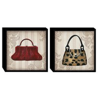 Illuminada - Glamour Purses in Color (Set of 2) Wood Art (2063) - Wood - Wall Art