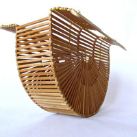 Vintage Wooden Purse. Geometric Bamboo Awesomeness.