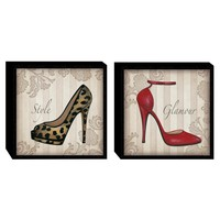 Illuminada - Glamour Shoes in Color (Set of 2) Wood Art (2061) - Wall Art