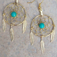 DREAM CATCHER Earrings with Gold Turquoise and by SerenityJewelry