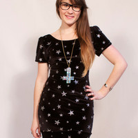 Silver and Black Glitter Star Mini Dress MADE TO ORDER
