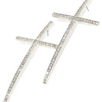 ROIAL Diamond Cross Earrings Silver : Karmaloop.com - Global Concrete Culture
