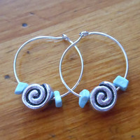 Silver Hoop Earrings - Beaded Hoop Earrings - Spiral Bead Hoop Earrings, Small Hoops Earrings