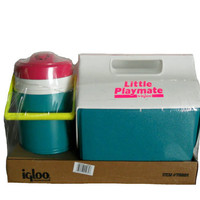 Vintage Neon Igloo Cooler Set - Little Playmate and Cooler/ Ice Chest - Neon Pink, Yellow,  Magenta, &amp; Teal - New Old Stock
