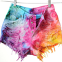 High Waist Rainbow MARBLED Dyed Denim Cut Off Shorts XS | fresh-tops.com