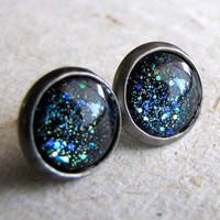 Handmade Gifts | Independent Design | Vintage Goods Blue Galaxy Stud Earrings - Stud-Style Earrings - Earrings - Jewelry - Girls